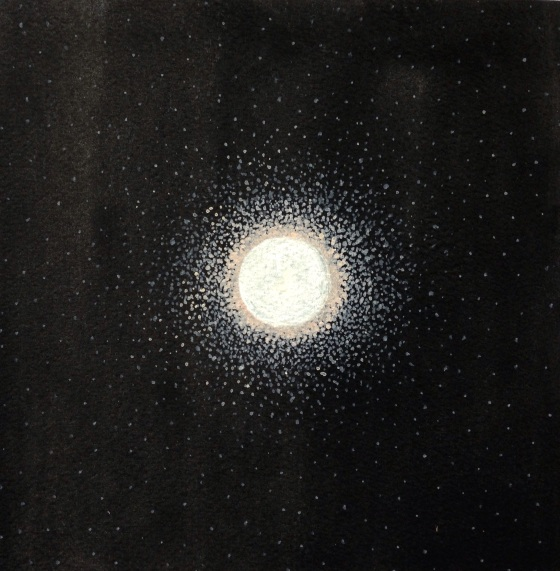 Moondust, 2012, watercolor on paper, 7.5x7.5 inches, By Camille McPhee